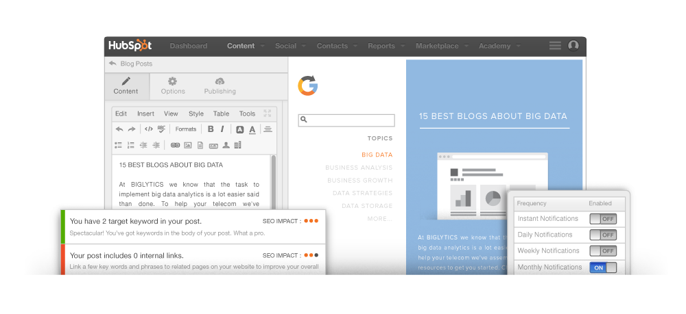 Pubblicare articoli di Blog con HubSpot Marketing Softwar