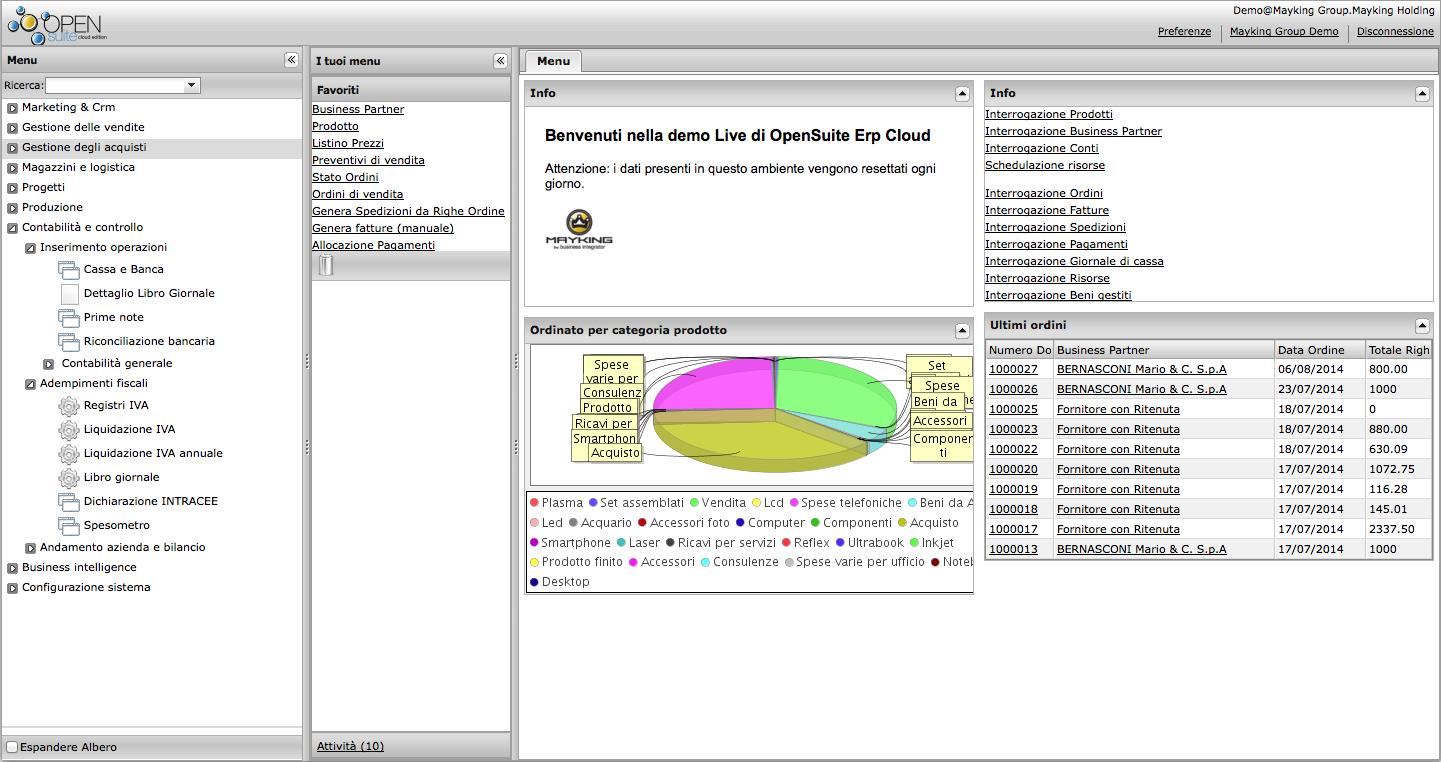 OpenSuite Erp Open Source Cloud - schermata iniziale