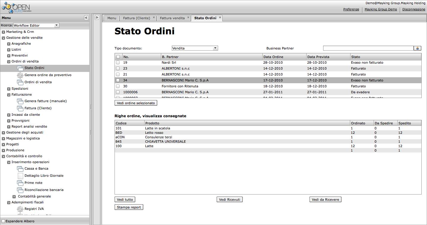 Gestionale Erp Open Source e Cloud - Stato ordini