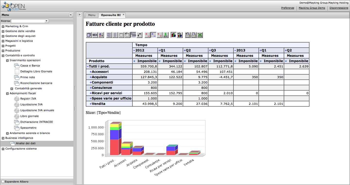 OpenSuite Erp Cloud - Analisi dei dati