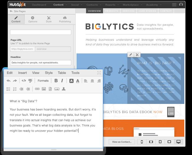 HubSpot CMS per creare pagine Web facilmente
