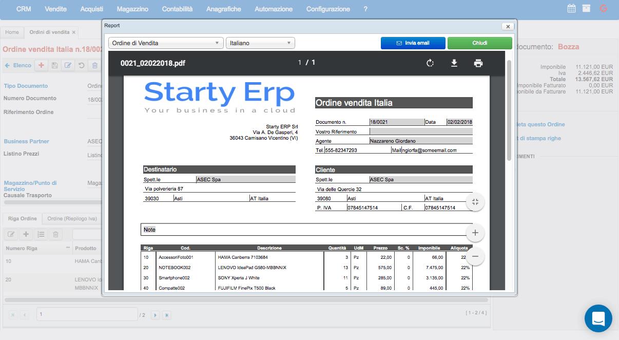Ordine Di Vendita Starty ERP