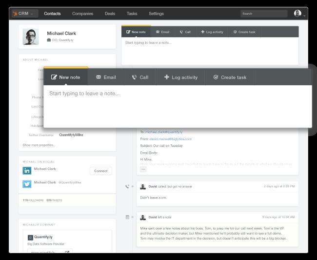 HubSpot CRM gestione dei contatti