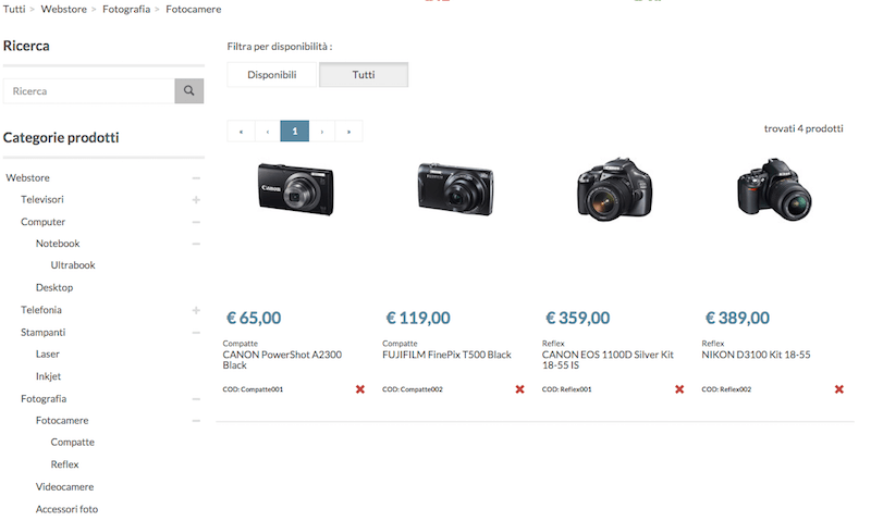 Catalogo prodotti e-commerce Starty Erp