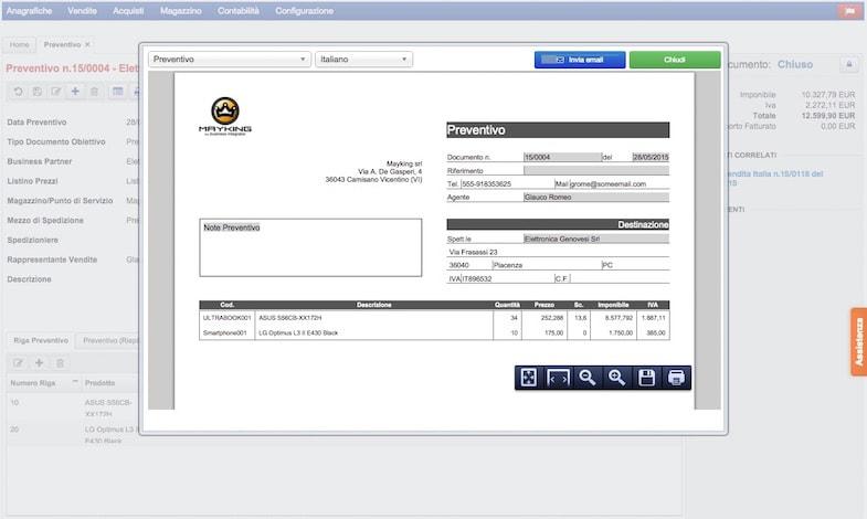 CRM per creare offerte e ordini di vendita