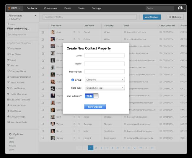 HubSpot CRM - aggiungere campi personalizzati